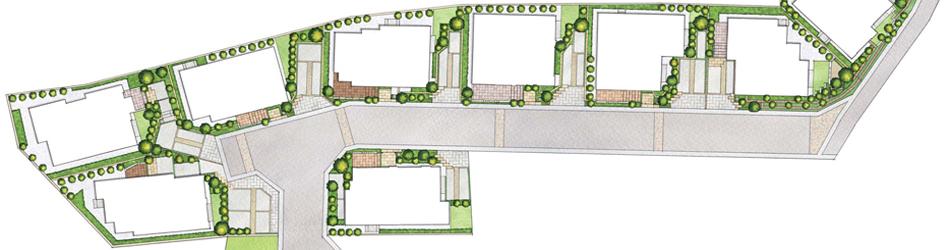住宅配置図手書きパース(水彩画)